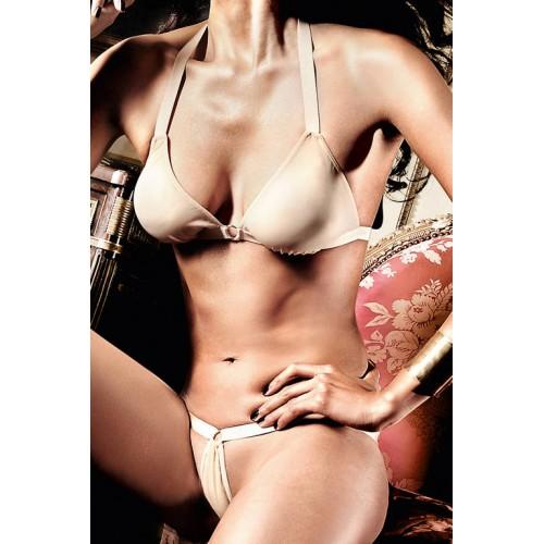 Светло-бежевый комплект бикини с металлическими кольцами Beauty Inside The Beast, M-L, бежевый