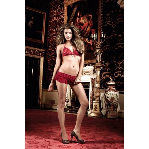Бордовый комплект - юбочка и бюст в горошек Have Fun Princess, S-M-L, бордовый