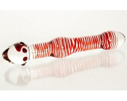 Двусторонний стеклянный фаллоимитатор с красными спиралями - 20 см.