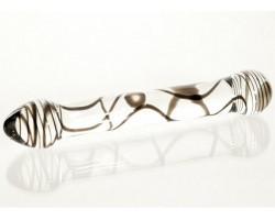 Стеклянный фаллоимитатор из прозрачного стекла со спиралями - 19,5 см.