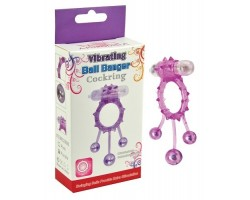 Розовое эрекционное виброкольцо  Ball Banger Cock Ring с 3 утяжеляющими шариками