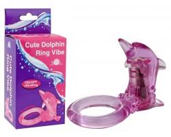Фиолетовое эрекционное кольцо с клиторальным стимулятором-дельфином