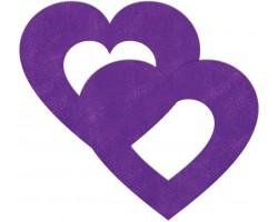 Фиолетовые пестисы на грудь в форме сердечек