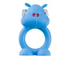 Голубое виброкольцо на пенис Happy Hippo
