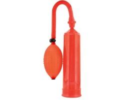 Красная вакуумная помпа в комплекте с эрекционными кольцами - 23 см.