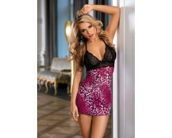 Сорочка с ажурным лифом и трусиками-стринг в комплекте, S-M-L, черный с розовым