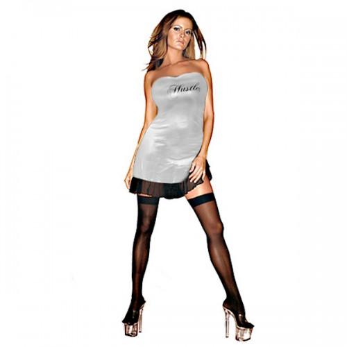 Клубное платье с надписью HUSTLER на груди, S-M, золото с черным