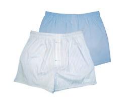 Комплект из 2 мужских трусов-шортов:  голубых и белых в полоску, S, белый/аква