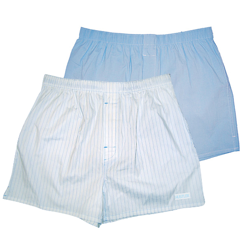 Комплект из 2 мужских трусов-шортов:  голубых и белых в полоску, XL, белый/аква