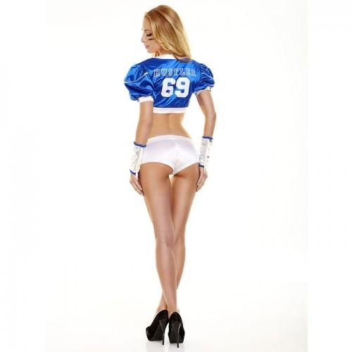 Синий костюм футболистки TIGHT END, S-M, синий с белым