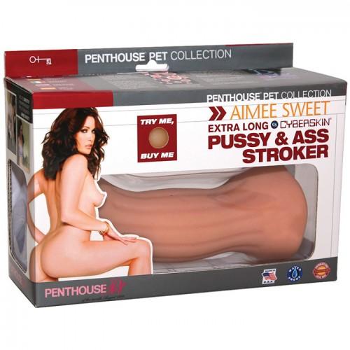 Двусторонний мастурбатор Aimee Sweet Extra Long CyberSkin Pussy   Ass Stroker - вагина и анус