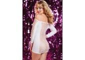 Откровенное платье в крупную сетку, S-M-L, белый