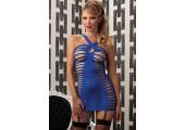 Сорочка с вырезами в стиле  бандаж , S-M-L, синий