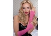 Длинные ажурные перчатки, S-M-L, розовый