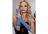Длинные ажурные перчатки, S-M-L, синий