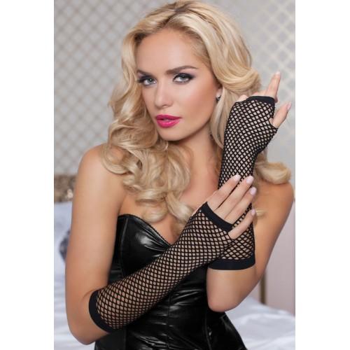 Длинные ажурные перчатки, S-M-L, черный