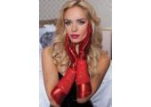 Комбинированные перчатки до локтя, S-M-L, красный