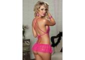 Кружевное тедди с блестками и гофрированной юбочкой, S-M-L, розовый