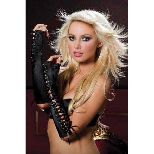 Атласные перчатки-пинетки со шнуровкой, S-M-L, черный с розовым