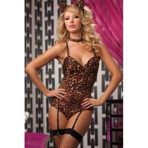 Леопардовое боди с хвостиком и ушками, S-M-L, леопард