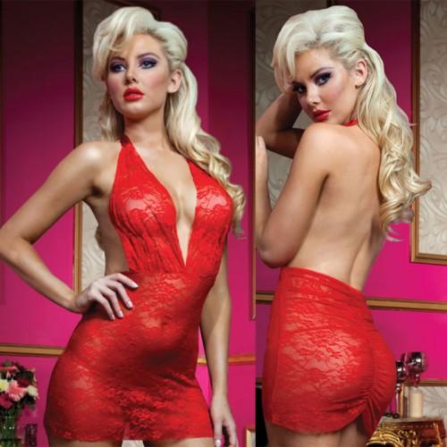 Роскошное мини-платье из кружева с трусиками, S-M-L, красный