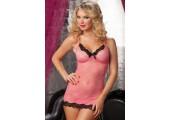 Нежная кружевная сорочка-платьице и трусики, S-M-L, розовый