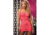 Платье-футляр в сеточку, S-M-L, розовый