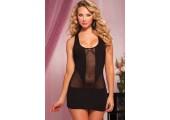 Короткое полупрозрачное платье, S-M-L, черный