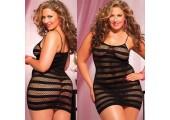 Платье увеличенного размера в полоску, 1X-2X, черный
