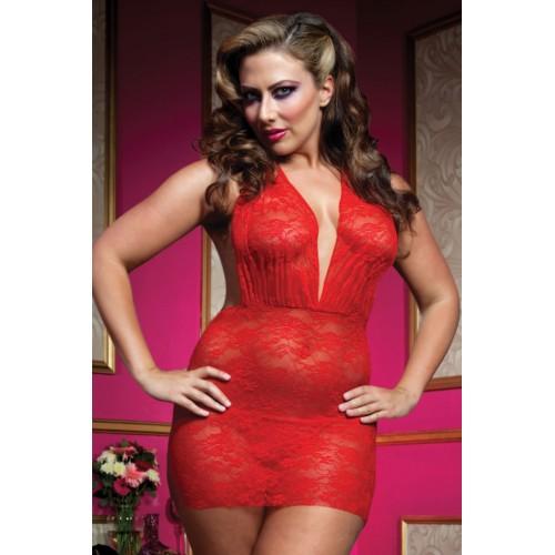 Роскошное мини-платье из кружева с трусиками-стринг, 1X-2X, красный