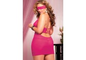 Ажурная сорочка с глубоким декольте и перемычками, 1X-2X, розовый