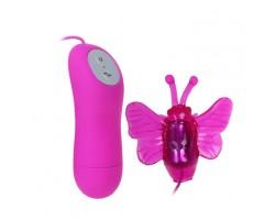 Розовый вибростимулятор с насадкой в виде бабочки