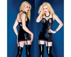 Короткое платье с серебристой отделкой, L, черный с серебристым