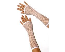 Длинные перчатки в сетку, S-M-L, белый