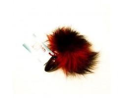 Чёрная анальная пробка с красно-черным заячьим хвостом - 8 см.
