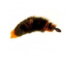 Анальная пробка с оранжевым лисьим хвостом