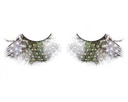 Коричнево-зелёно-фиолетовые ресницы-перья