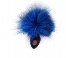 Анальная пробка с голубым заячьим  хвостом - 8 см.