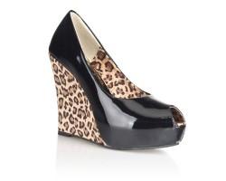 Блестящие туфли с леопардовой танкеткой, 36, черный с леопардовым