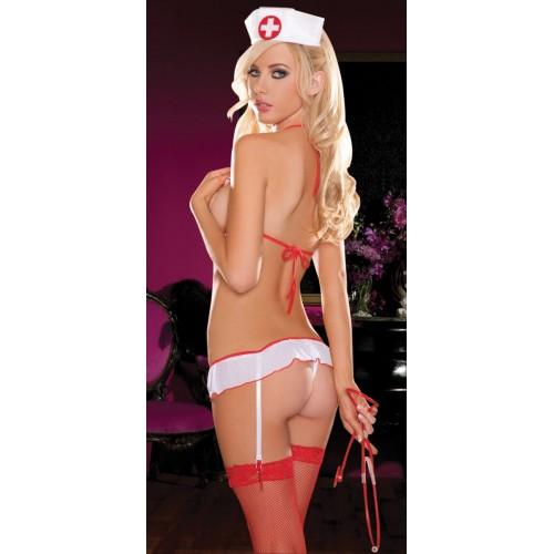 Откровенное боди медсестры, S-M-L, белый