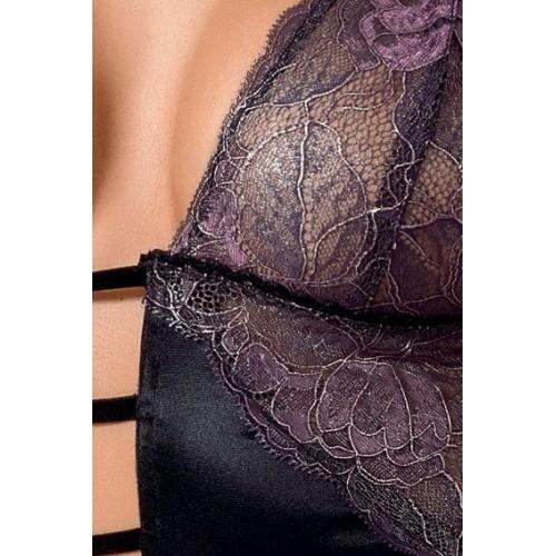 Облегающая сорочка Fiero с кружевным лифом, S-M, черный