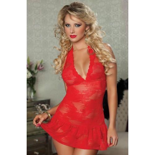 Кружевное платье с трусиками, S-M-L, красный