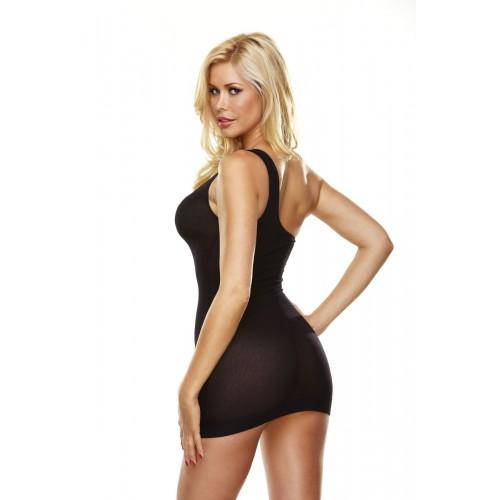 Облегающее полупрозрачное платье на одной лямке, S-M-L, черный