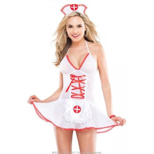 Соблазнительный бэби-долл медсестры, S-M-L, белый с красным