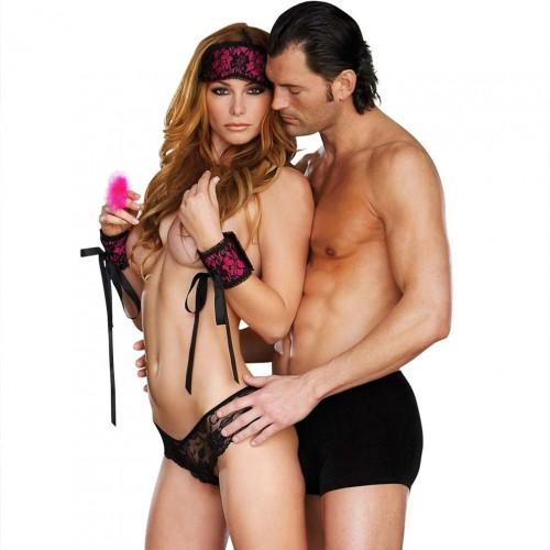 Набор для девушки из 5 предметов Pink Seduction, S-M-L, черный