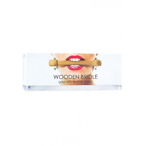 Белый кляп Wooden Bridle с деревянным трензелем