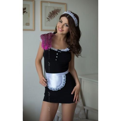 Платье горничной Jane с фартуком и кружевной повязкой на голову , S-M, черный с белым
