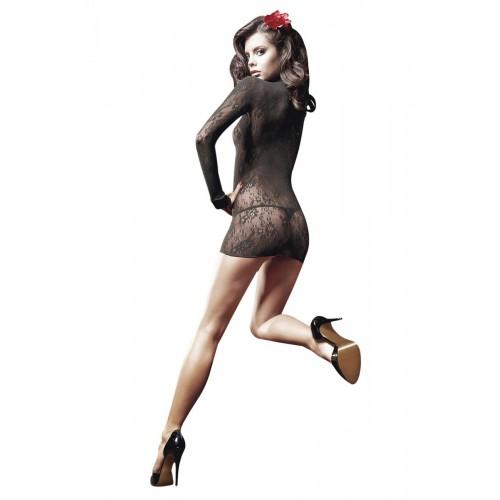 Полупрозрачное платьице с длинным рукавом и воротничком-стойкой, S-M-L, черный