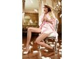 Нежный сатиновый пеньюар-кимоно, S-M-L, розовый