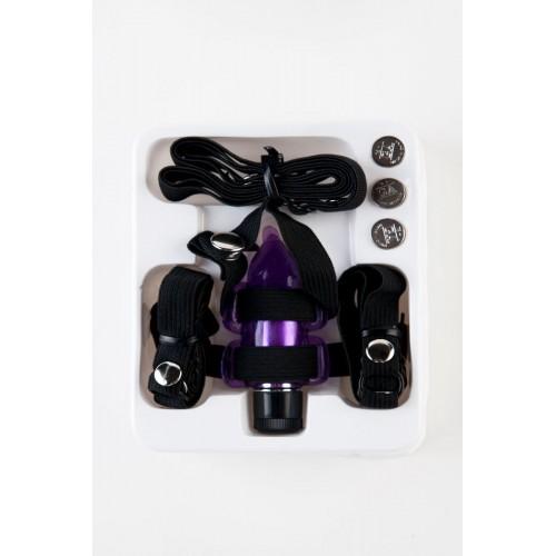 Фиолетовый вибростимулятор в форме мышки на регулируемых ремешках